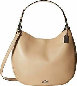 COACH 36026 Nomad Hobo Beige/Beechwood Glovetanned Leather Purse Handbag