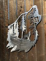Wolf Howling metal wall art home decor. metal cutout made in usa