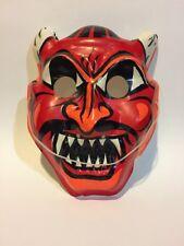 Vtg Devil Satan Lucifer HALLOWEEN mask COSTUME NOS Plastic Monster Scary Rare
