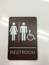 "Restroom Sign - Unisex Handicap ADA Braille Compliant- 6"" x 9"" - BROWN"