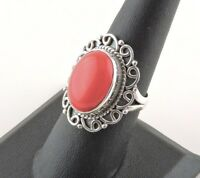 Sterling Silver 14 ct Oval Red Coral Ring