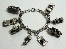 Vintage 925 Sterling Silver Charm Bracelet & 8 Charms~Cars~Train~Camera~FABULOUS