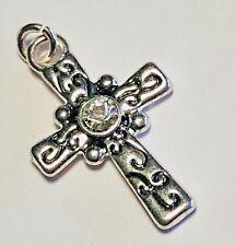 Rhinestone Cross Charm Scroll Pendant, Silver Plated, Silver-E Swarovski Crystal