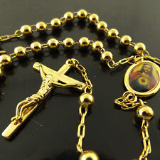 NECKLACE CHAIN 18K YELLOW G/F GOLD ROSARY VIRGIN MARY MEDAL CROSS BEAD DESIGN