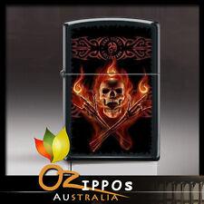 Zippo Anne Stokes-Flaming Skull Black Matte Lighter 8438   - Free Shipping in au