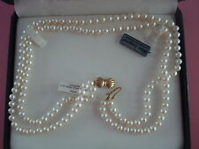 MIKIMOTO BLUE LAGOON PEARL NECKLACE DOUBLE STRAND BOW CLASP 14KT NEW