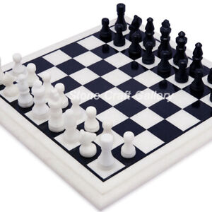 """12"""" Marble Chess Table Semi Precious stones With 2"""" King Size chess Pieces"""