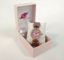 Betsey Johnson Luv Watch Glitter Pink Face Crystal Bezel Rose Gold Heart NWT NIB