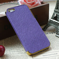 Frame Luxury Leather Chrome Hard Back Case Cover For iPhone 5 5S Purple Gold