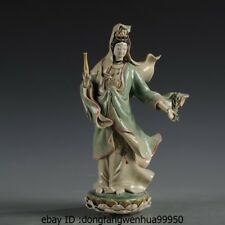 Painted Pottery Porcelain Statue Willow branch Vase Kwan-yin Guanyin Bodhisattva