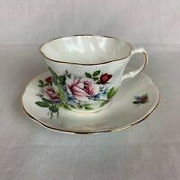 Royal Dover Fine Bone China Teacup and Saucer w/Stemmed Roses England