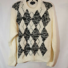 Vintage Peter England Chunky Sweater White Black Gray Argyle Knit Sz L
