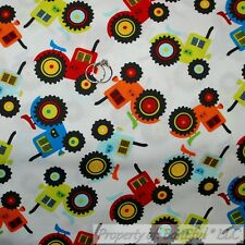 BonEful FABRIC FQ Cotton Quilt White Green Red Blue Farm Tractor Tire Baby Boy S