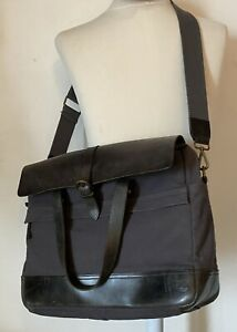 TIMBERLAND - Heavy Duty Grey Leather Canvas Laptop Briefcase Courier Bag LARGE
