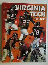 Virginia Tech Football 2001 Media Guide Schedule Maroon Book Vintage Players