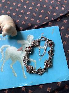 Vintage Silver Tone Rose Red Rhinestone Bracelet