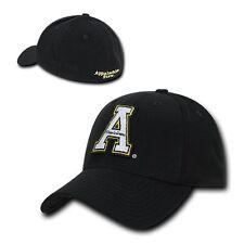 Black ASU Appalachian App State Mountaineers Flex Baseball Fitted Ball Cap Hat