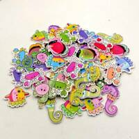 50pcsRandom Marine Sea Animal Shaped Wooden Buttons Scrapbooking Sewing Clothes_