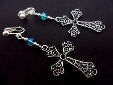 Un par de largo rosa de cristal /& cruz de plata pendientes Crucifijo Madonna