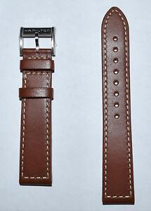 Original Hamilton 20mm Khaki Brown Leather Watch Band Strap H70455553, H70455533