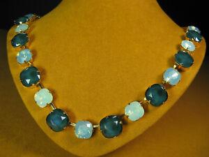 MARIANA NECKLACE SWAROVSKI GREEN OPAL CRYSTALS YELLOW GOLD PL MOSAIC BEAD Gift