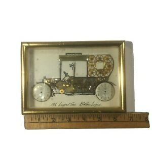 Horological Collage London G Burgess Signed Watch Art Parts 1916 Taxi Vtg 4.5x 6