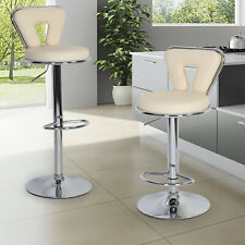 2× Bar Stools Faux Leather Barstool Kitchen Pub Stool Breakfast Bar Chair