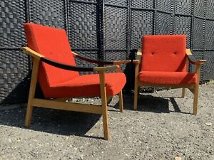 PAIR Of VINTAGE MID CENTURY HUNGARIAN LOUNGE ARMCHAIR EASY CHAIR
