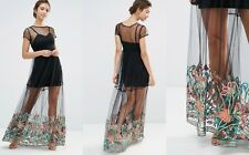 aeaf5376cde4d New Boohoo boutique embroidered hem mesh maxi dress Size S/36 UK 8