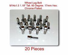 """20 Pcs wheel Lug Bolt M14x1.5 Tall 1.18"""" 60 Degree 17mm Hex Fits: Saab & VW"""