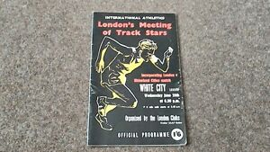 LONDON MEETING OF TRACK STARS PROGRAMME 1961 LONDON v RHINELAND ATHLETICS
