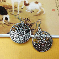 Pretty New Tibetan Silver Art Carved Round Disc Shape Dangle Drop Earrings