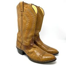 Justin Men's 10 D Exotic Full Quill Ostrich Tan Brown Western Cowboy Boots