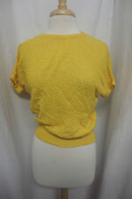 Vintage 1980's Yellow Mesh Knit Cropped Boxy Knit Shirt Sz Med
