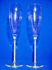 Wedding/Bridal Toasting Champagne Flutes with Austrian Crystal filled Stems.