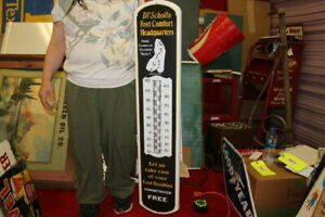 "Large Dr Scholls Foot Comfort Headquarters 39"" Porcelain Metal Thermometer Sign"