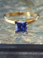 Tanzanite Princess Cut Solitaire Ring 10kt Solid Yellow Gold