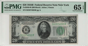 1934 B $20 FEDERAL RESERVE NOTE NEW YORK FR.2056-B PMG GEM UNCIRCULATED 65 EPQ