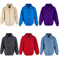 Mens Plain Zip Up Hoodies Hooded Sweatshirt Zipper Hoody Zipped Top S M L X XXL