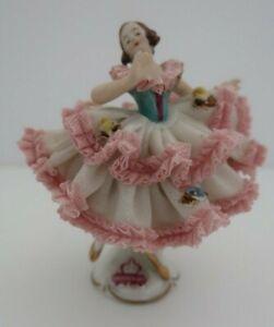 vintage ALKA KUNST Germany DRESDEN ART pink & white BALLERINA figurine LACE