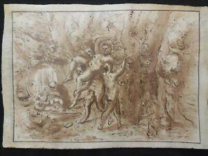 Old drawing,Italian school,old master,horse, satyr,Original brown ink drawing.
