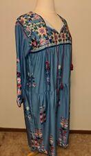 Misslook dress Xl Blue Floral 3/4 Sleeve Peasant Dress