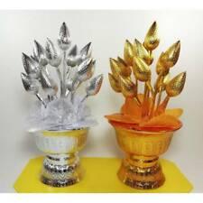SetCouple Gold Silver Lotus Tray Buddhism Worship Offering Pedestal Altar Amulet