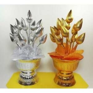 SetCouple Gold Silver Lotus Tray Buddhism Worship Offering Pedestal Altar Amulet