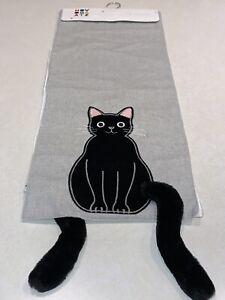 "Novogratz Halloween Table Runner Black Cat Dangling Stuffed Tail 14"" x 72"" New"
