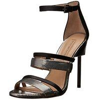 new bcbg maxazria ma-deanna shoes sandals black pewter 6M 36 high hills leather