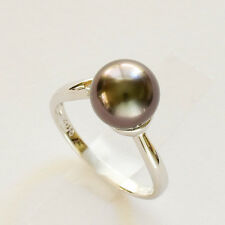 TAHITIAN PEARL DIAMOND RING 9.2mm CULTURED PEARL 14K WHITE GOLD SIZE M1/2 NEW