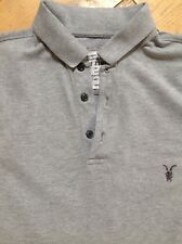 All Saints Men's Grey Polo Top Size XS