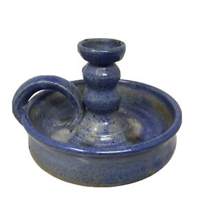Studio Pottery Hand Thrown Blue Stoneware Candle Stick Holder Lee Carver