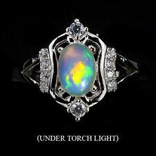 ARGENTO 925 Genuino Naturale Opal con fuoco Lucentezza Anello SZ P1 / 2 (USA 8)